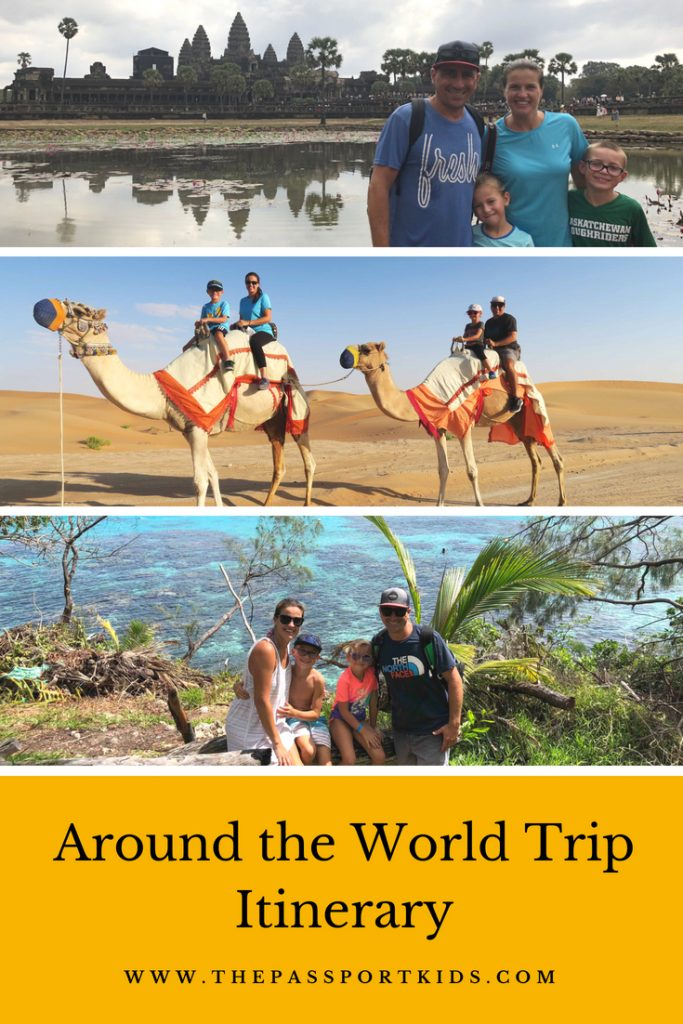 Trip Around the World Itinerary - with a family! Find out all the places for an around the world trip itinerary for 1 year of fulltime travel. 23 Countries, 5 continents and over 80 cities! Includes some planning tips, info, lessons learned and help to start planning your trip around the world with your kids. #rtw #tripitinerary #fulltimetravel #familytravel #worldtrip