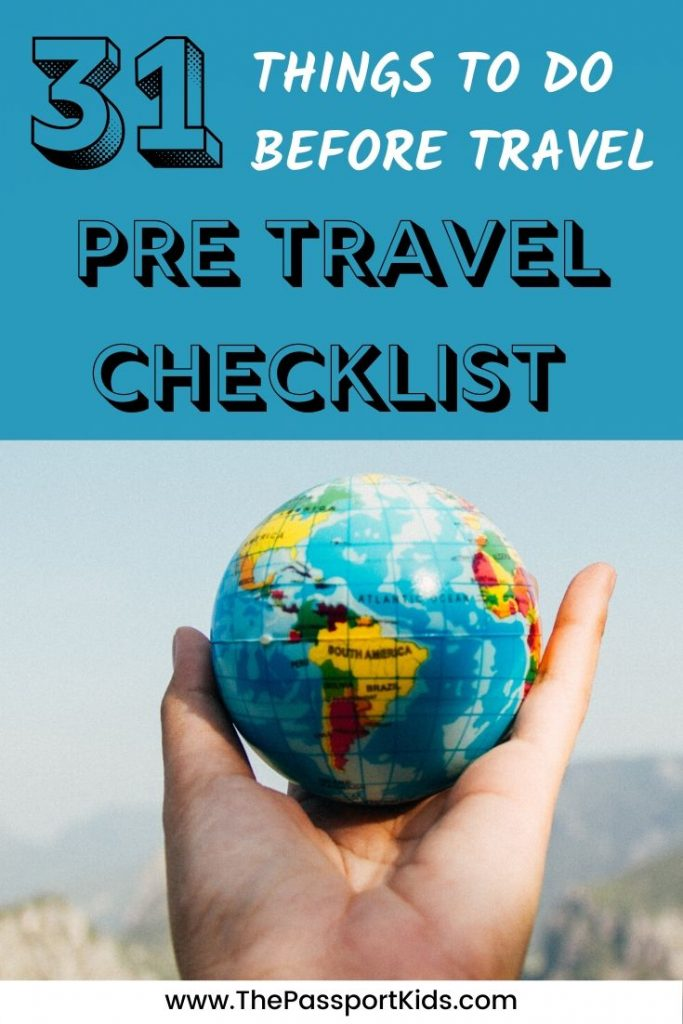 An easy Pre Travel Checklist of all the Things to do Before Travel. Find out the things to do before travel long term and what needs to be done before travelling for a year. Or use these travel preparation checklist tips for any vacation you have planned! A simple checklist to help you prepare better for travelling abroad. #travelchecklist #fulltimetravel #gapyear #familytravel #pretravelchecklist #checklist