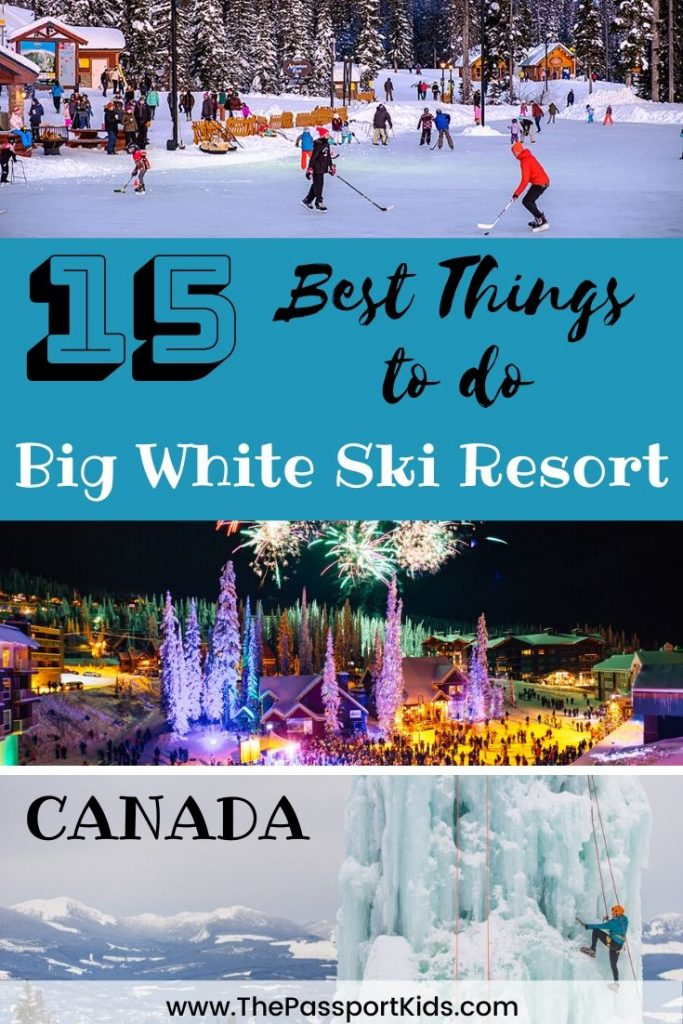 Best Things to do in Big White Ski Resort with kids - British Columbia, Canada. All the fun family activities to do at Big White besides skiing and snowboarding including: tube park, skating, dog sledding, horse drawn sleigh rides, snowshoeing, fireworks, ice climbing wall, carnival nights and more! #skibigwhite #explorekelowna #canada #bigwhite #skitrip #familyski #explorebc