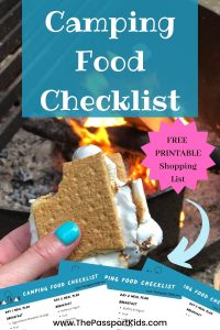 An easy weekend camping food checklist with camping meal plans and printable pdf grocery checklist! Make camping meal planning easy! Includes all food items list, ideas for campsite cooking, and more! #campingfood #campingfoodideas #foodchecklist #campingfoodlist #campingmeals #mealscamping